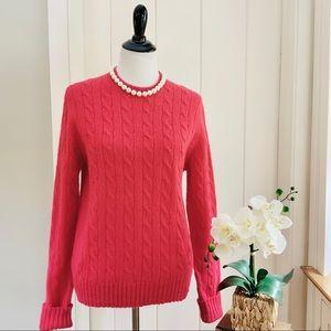 SUSAN BRISTOL Hot Pink 100% Shetland Wool Sweater
